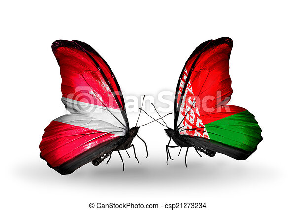Two butterflies with flags on wings as symbol of relations Latvia and Belarus - csp21273234