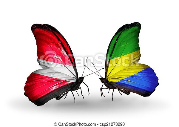 Two butterflies with flags on wings as symbol of relations Latvia and Gabon - csp21273290
