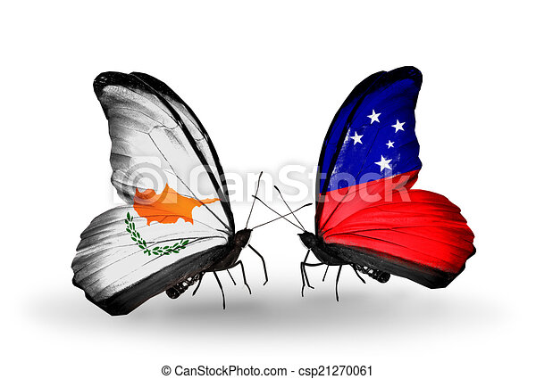 Two butterflies with flags on wings as symbol of relations Cyprus and Samoa - csp21270061