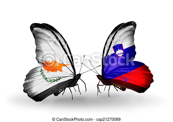 Two butterflies with flags on wings as symbol of relations Cyprus and Slovenia - csp21270089