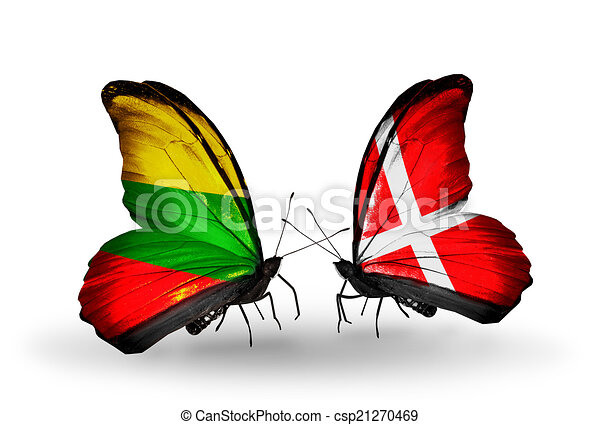 Two butterflies with flags on wings as symbol of relations Lithuania and Denmark - csp21270469