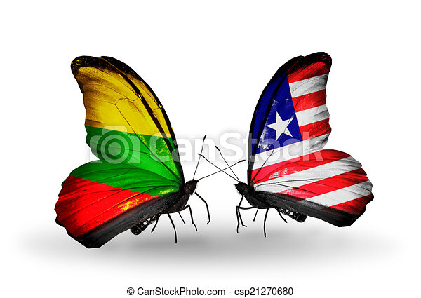 Two butterflies with flags on wings as symbol of relations Lithuania and Liberia - csp21270680