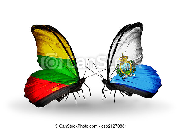 Two butterflies with flags on wings as symbol of relations Lithuania and San Marino - csp21270881