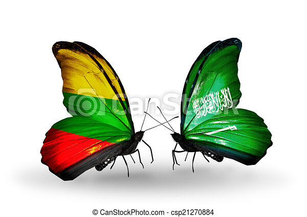 Two butterflies with flags on wings as symbol of relations Lithuania and Saudi Arabia - csp21270884