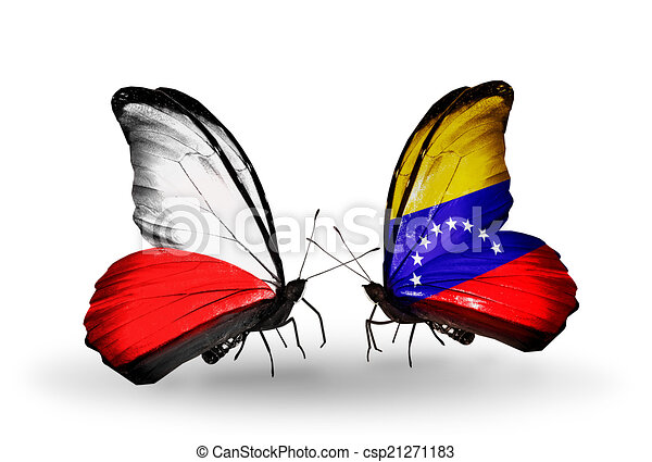 Two butterflies with flags on wings as symbol of relations Poland and Venezuela - csp21271183
