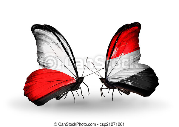Two butterflies with flags on wings as symbol of relations Poland and Yemen - csp21271261