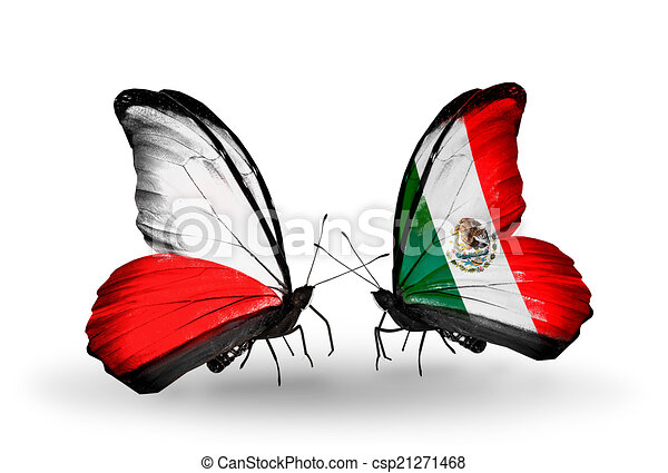 Two butterflies with flags on wings as symbol of relations Poland and Mexico - csp21271468