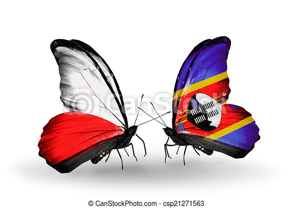 Two butterflies with flags on wings as symbol of relations Poland and Swaziland - csp21271563