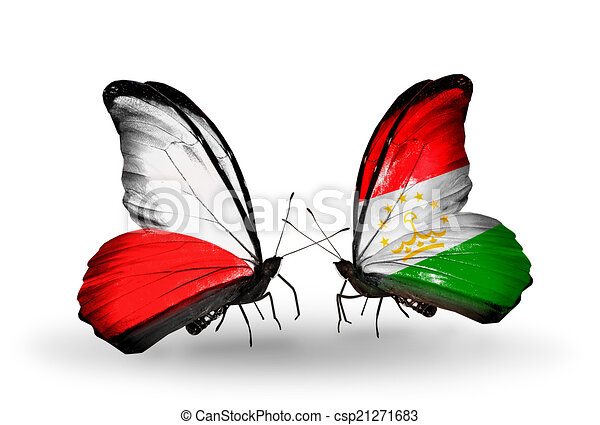 Two butterflies with flags on wings as symbol of relations Poland and Tajikistan - csp21271683