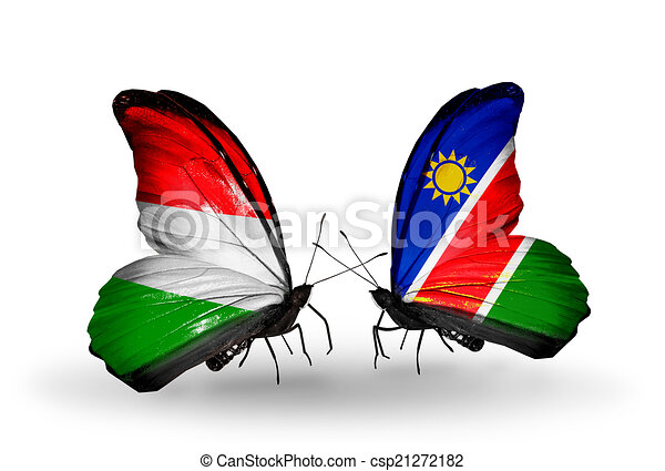 Two butterflies with flags on wings as symbol of relations Hungary and Namibia - csp21272182
