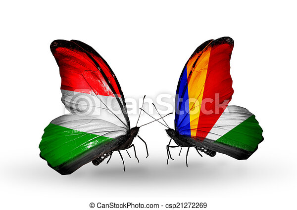Two butterflies with flags on wings as symbol of relations Hungary and Seychelles - csp21272269
