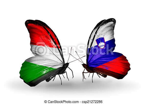 Two butterflies with flags on wings as symbol of relations Hungary and Slovenia - csp21272286