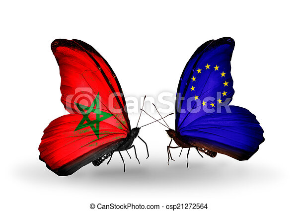 Two butterflies with flags on wings as symbol of relations Morocco and European Union - csp21272564