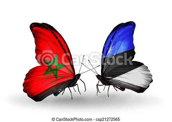 Two butterflies with flags on wings as symbol of relations Morocco and Estonia - csp21272565