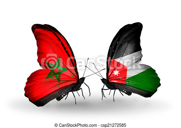Two butterflies with flags on wings as symbol of relations Morocco and Jordan - csp21272585