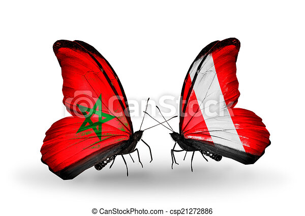 Two butterflies with flags on wings as symbol of relations Morocco and Peru - csp21272886