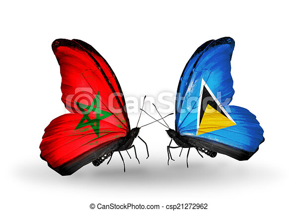 Two butterflies with flags on wings as symbol of relations Morocco and Saint Lucia - csp21272962
