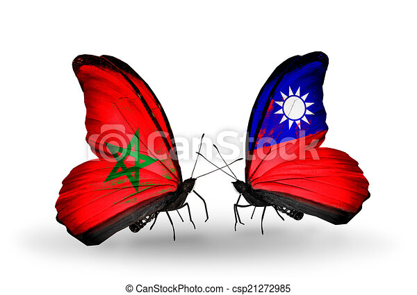 Two butterflies with flags on wings as symbol of relations Morocco and Taiwan - csp21272985