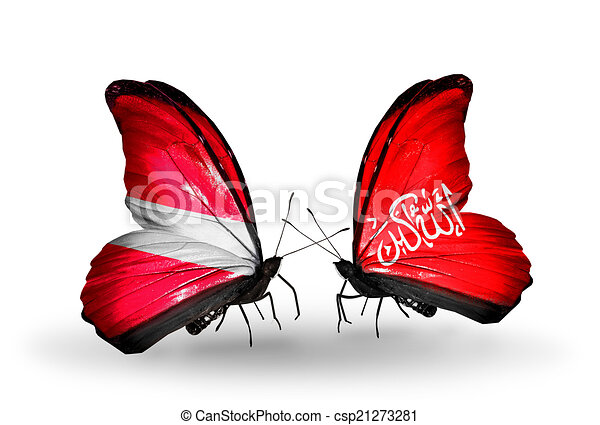 Two butterflies with flags on wings as symbol of relations Latvia and Waziristan - csp21273281