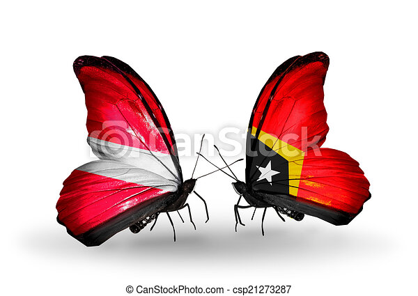 Two butterflies with flags on wings as symbol of relations Latvia and East Timor - csp21273287