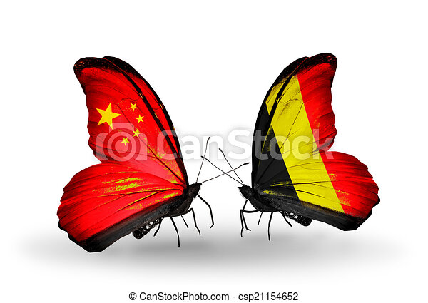 Two butterflies with flags on wings as symbol of relations China and Belgium - csp21154652