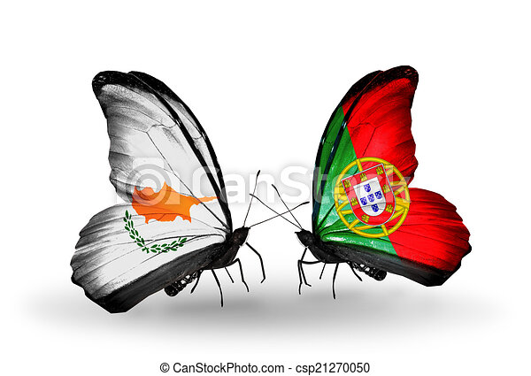 Two butterflies with flags on wings as symbol of relations Cyprus and Portugal - csp21270050
