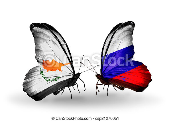 Two butterflies with flags on wings as symbol of relations Cyprus and Russia - csp21270051