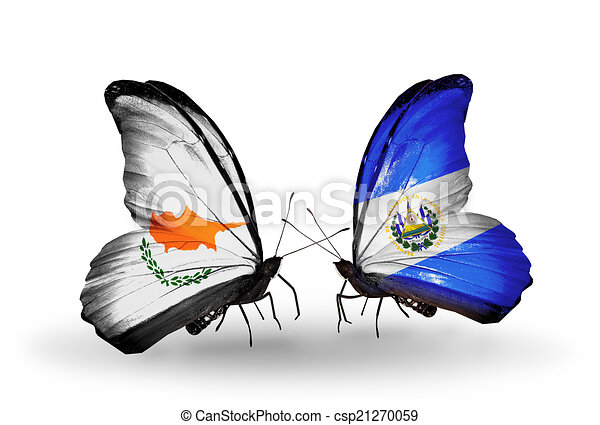 Two butterflies with flags on wings as symbol of relations Cyprus and Salvador - csp21270059