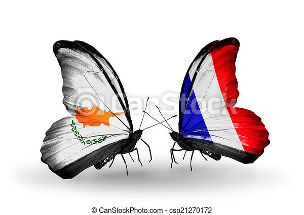 Two butterflies with flags on wings as symbol of relations Cyprus and France - csp21270172