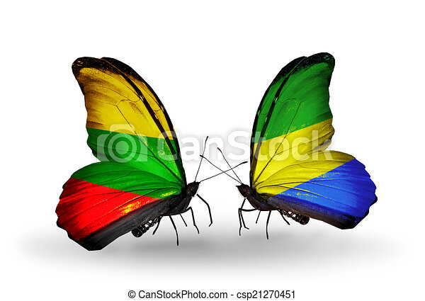 Two butterflies with flags on wings as symbol of relations Lithuania and Gabon - csp21270451