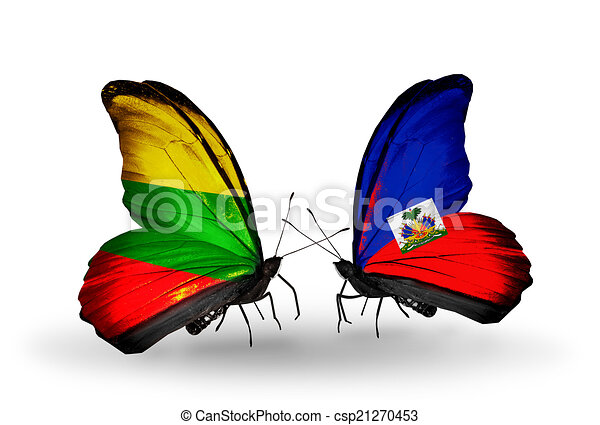 Two butterflies with flags on wings as symbol of relations Lithuania and Haiti - csp21270453