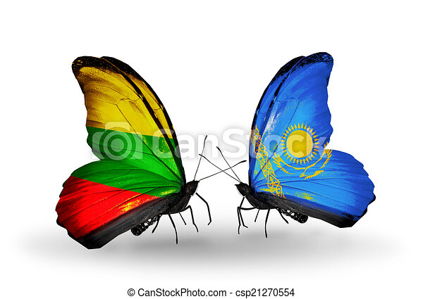 Two butterflies with flags on wings as symbol of relations Lithuania and Kazakhstan - csp21270554