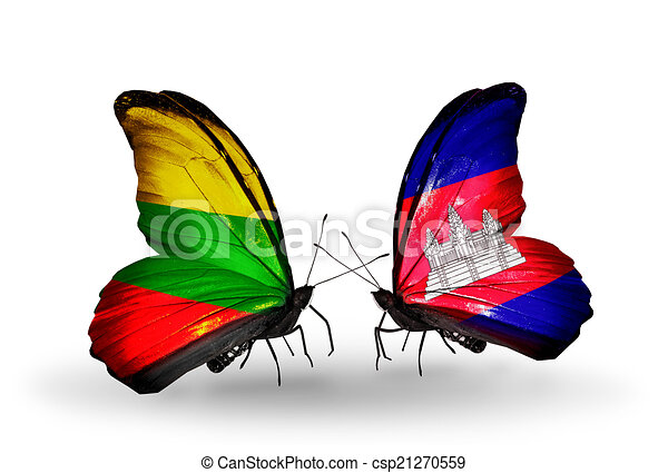 Two butterflies with flags on wings as symbol of relations Lithuania and Cambodia - csp21270559