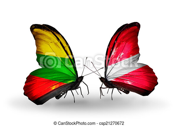 Two butterflies with flags on wings as symbol of relations Lithuania and Latvia - csp21270672