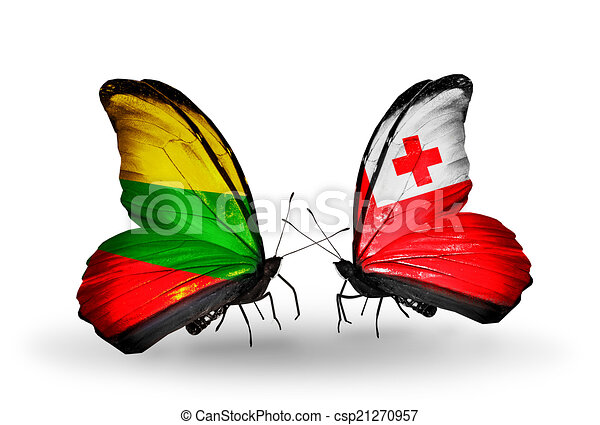 Two butterflies with flags on wings as symbol of relations Lithuania and Tonga - csp21270957