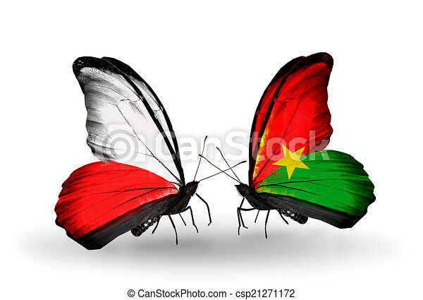Two butterflies with flags on wings as symbol of relations Poland and Burkina Faso - csp21271172