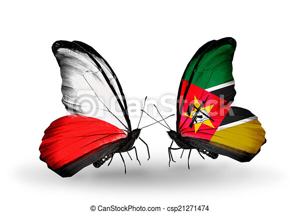 Two butterflies with flags on wings as symbol of relations Poland and Mozambique - csp21271474
