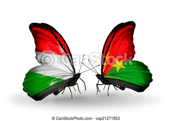 Two butterflies with flags on wings as symbol of relations Hungary and Burkina Faso - csp21271853