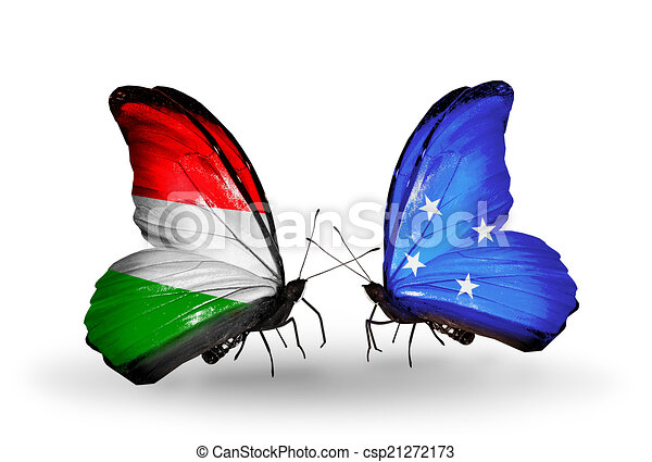 Two butterflies with flags on wings as symbol of relations Hungary and Micronesia - csp21272173