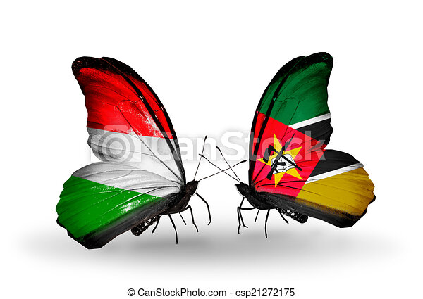 Two butterflies with flags on wings as symbol of relations Hungary and Mozambique - csp21272175