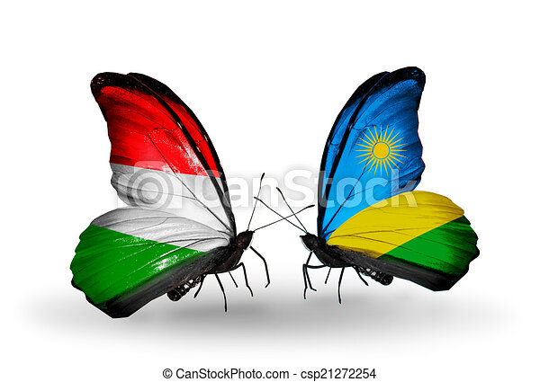 Two butterflies with flags on wings as symbol of relations Hungary and Rwanda - csp21272254