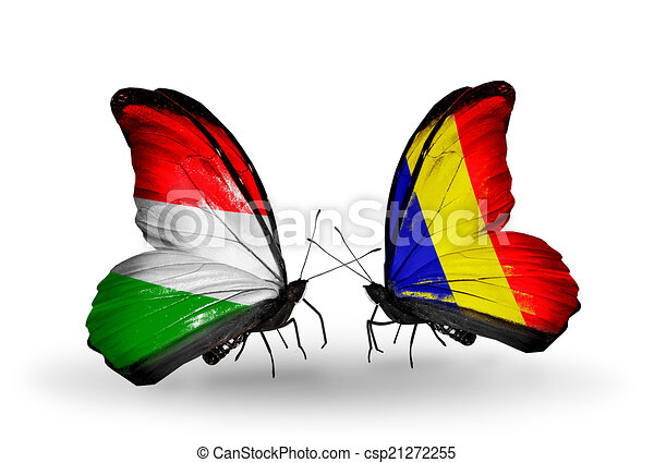 Two butterflies with flags on wings as symbol of relations Hungary and Chad, Romania - csp21272255