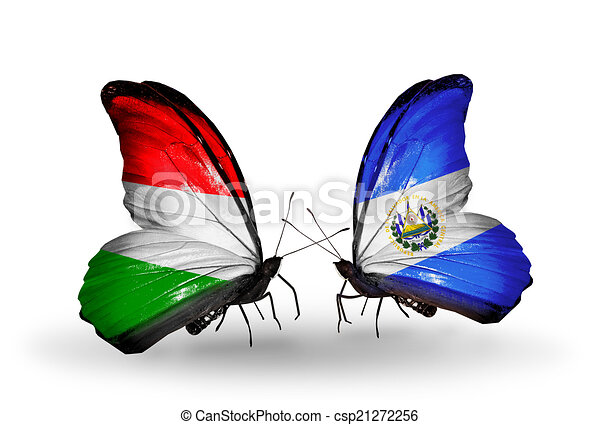 Two butterflies with flags on wings as symbol of relations Hungary and Salvador - csp21272256