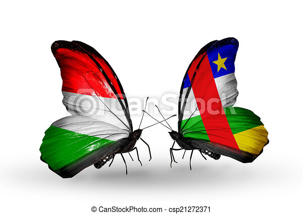 Two butterflies with flags on wings as symbol of relations Hungary and Central African Republic - csp21272371