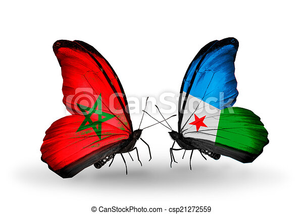 Two butterflies with flags on wings as symbol of relations Morocco and Djibouti - csp21272559