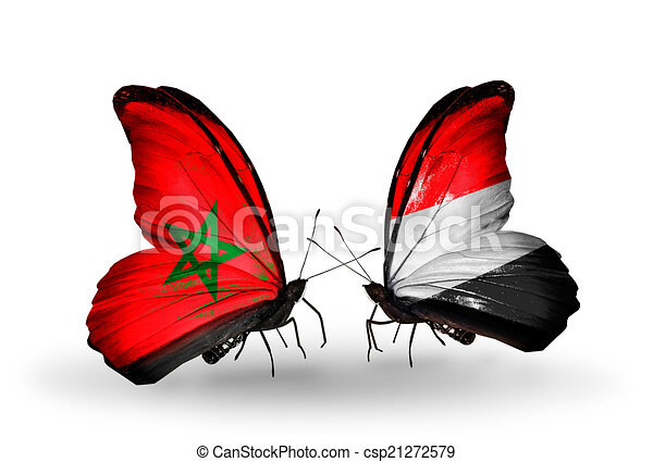 Two butterflies with flags on wings as symbol of relations Morocco and Yemen - csp21272579