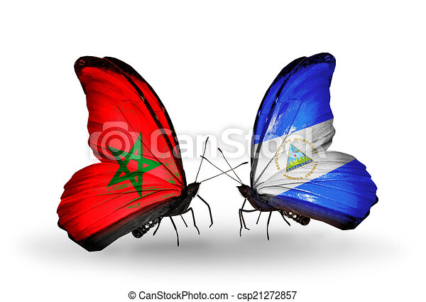 Two butterflies with flags on wings as symbol of relations Morocco and Nicaragua - csp21272857