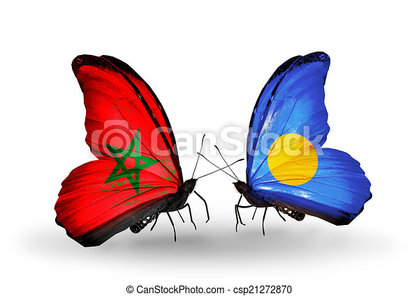 Two butterflies with flags on wings as symbol of relations Morocco and Palau - csp21272870