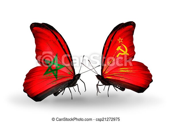 Two butterflies with flags on wings as symbol of relations Morocco and Soviet Union - csp21272975