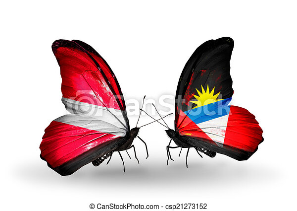 Two butterflies with flags on wings as symbol of relations Latvia and Antigua and Barbuda - csp21273152